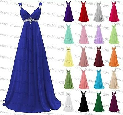 Long Chiffon Wedding Evening Formal Party Ball Gown Prom Bridesmaid Dress 6-24
