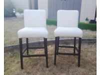 Pair Kitchen Breakfast Bar Stools White Faux Leather