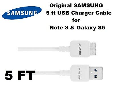 NEW Authentic 5 feet Samsung Galaxy Note3 S5 USB 3.0 Charging Cord SYNC CABLE 5'