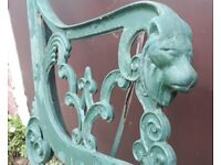Pair Of Cast Iron Garden Bench Ends With Lion Head Terminals