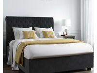 Safina Rolltop Double Ottoman Bed In Dark Grey Velvet