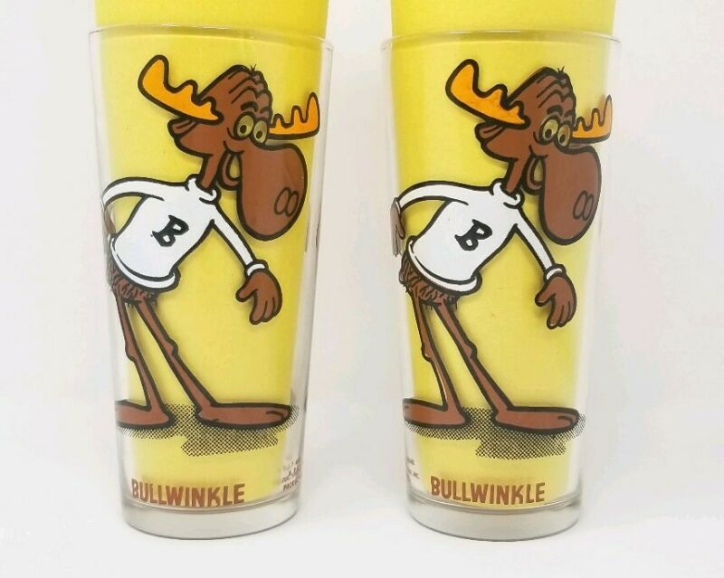 2 Bullwinkle Moose Glasses Glass Cup - Rocky and Bullwinkle Cartoon