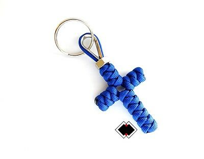 Cross keychain - 550 Paracord - Blue - Handmade in USA - Paracord Cross