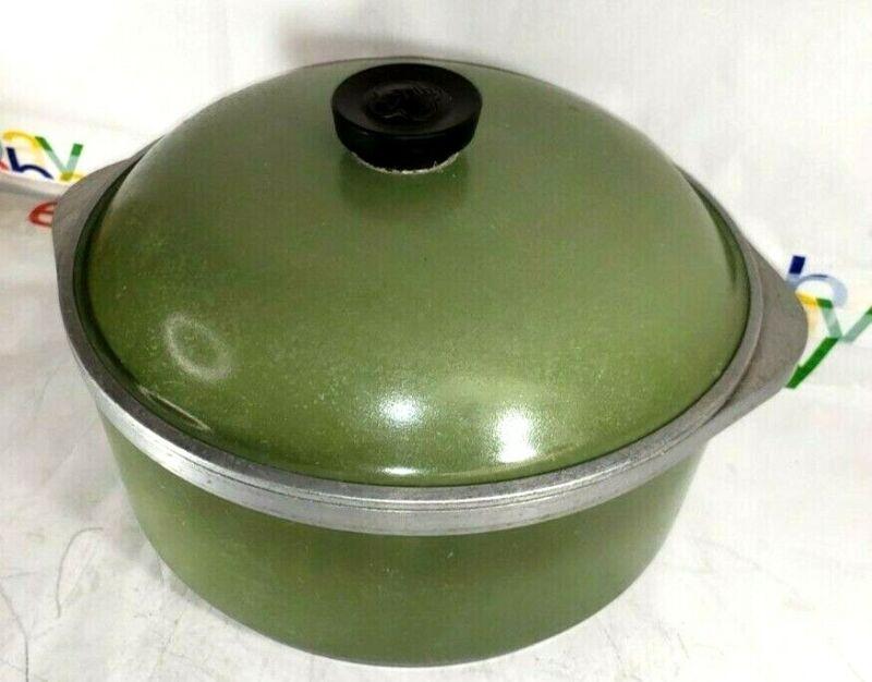Vintage Club Avocado Green Aluminum Stock Pot Dutch Oven With Lid 4 QT USA VGC