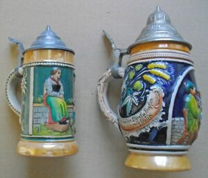 WEST-GERMANY,BEER STEIN,MUGS,TANKARDS,WITH LID,CERAMICS,OLD
