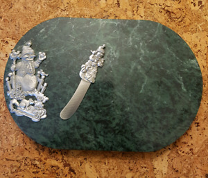Green marble/Pewter cheese tray