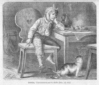 Zahnarzt, Junge mit Zahnschmerzen: Tantalus! Original-Holzstich von 1875