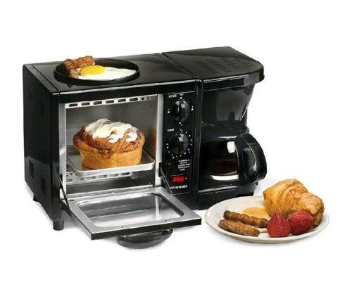 3-in-1 Breakfast Center Station Coffee Maker 4 Slice Toaster