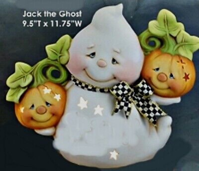 CERAMIC BISQUE -'JACK' THE GHOST HOLDING PUMPKINS~LIGHT KIT INCL. READY TO PAINT
