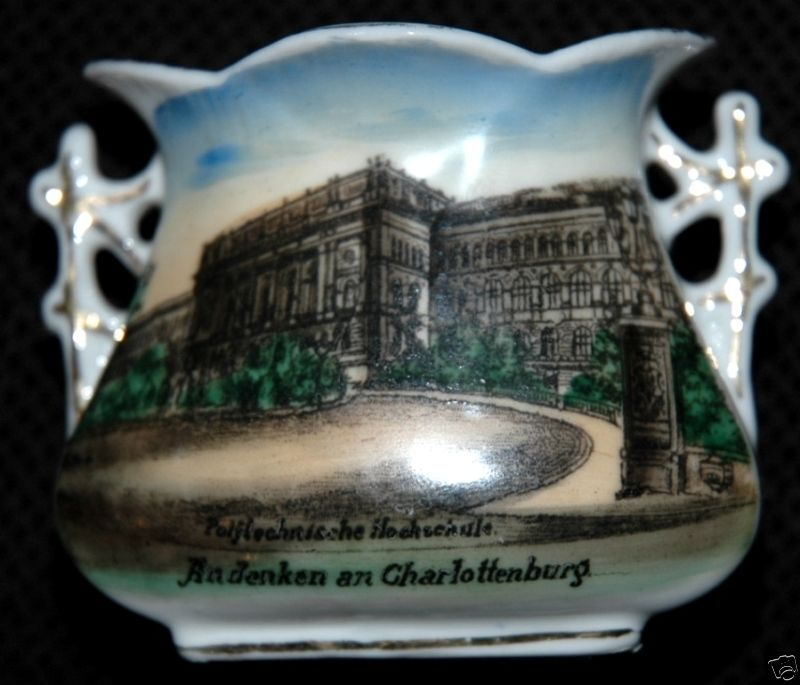 ANDENKEN AN CHARLOTTENBURG GERMANY CHINA VASE CA 1910