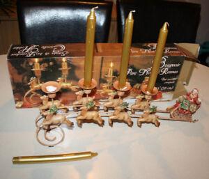 Santa & bis Reindeer Candle Holder