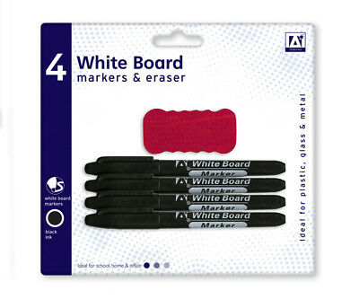 4 x Black Dry Wipe White Board Markers & Eraser Office School Stationery Clean