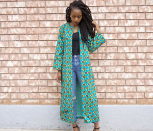African dresses, skirt, blouse, duster and pants.