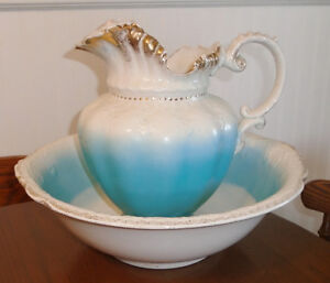 Antique Alfred Meakin England Porcelain Wash Bowl & Pitcher Set