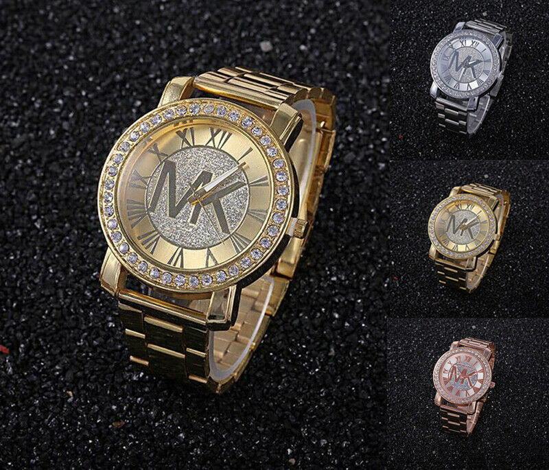 New Fashion Women Men Diamond Crystal Stainless Steel Wrist