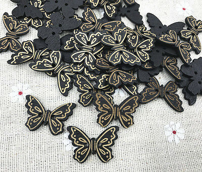Black Butterfly Craft - Wooden Buttons Black butterfly Sewing Scrapbooking Decoration 2-Holes craft 24mm