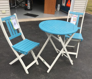 NEW- Patio/Balcony/Garden Table and Chairs (Sterling Blue/White)