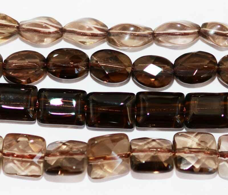 "Oval Square Rectangle Natural Smoky Quartz Gemstone Beads 15"" DIY Hand Making"