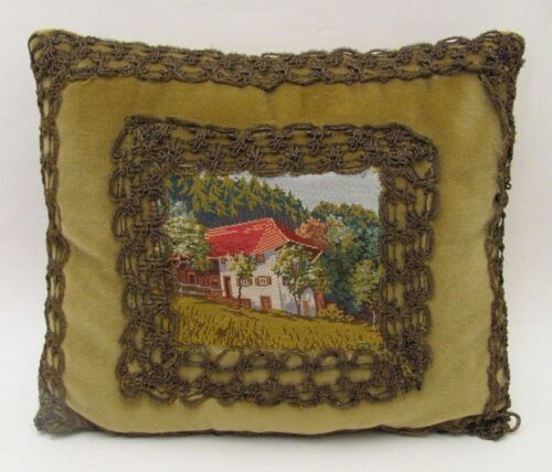 Beautiful Antique Petit Point Velvet Pillow Early 1900s
