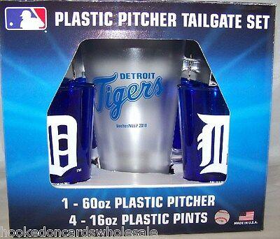 Detroit Tigers MLB Plastic 60oz. Pitcher & 4 -16oz. Glasses Tailgate Gift Set