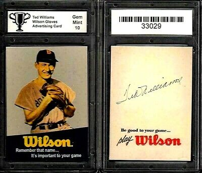 Ted Williams Boston Red Sox Wilson Gloves Ad Promo Card Graded 10 GEM MINT #K