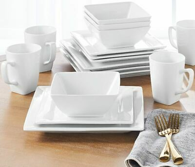 16-Piece Square Porcelain Dinnerware Set White Dinner Plates Dishes ()