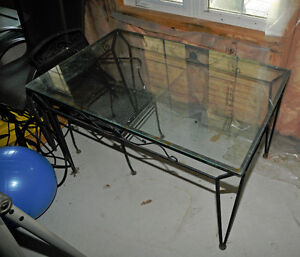 Wrought Iron Glass Top Table & 3 Armchairs