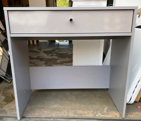 Grey gloss Desk with Storage Draw only £35. Real Bargains Clearance Ou