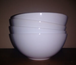 Four IKEA white soup / cereal bowls. new