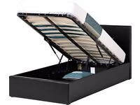 """FEB SALE NOW ON == Single Storage Leather Bed With Dual-Sided 11"""" Full Orthopaedic Mattress"""