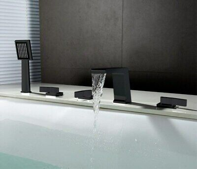 5pcs Set Waterfall Bathtub Faucet Widespread Tub Sink Mixer Taps Black (Widespread Sink Set)