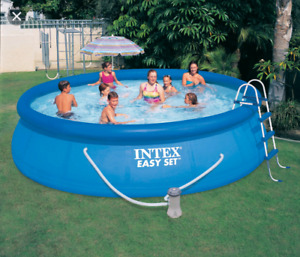 Intex 16 ft round pool with accessories