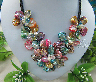 freshwater pearl sea shell flower Rainbow color necklace  wholesale beads 18