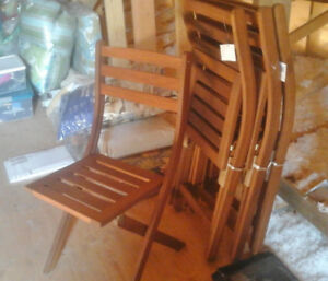NEW Folding Acacia Wood Deck/Dining Chairs