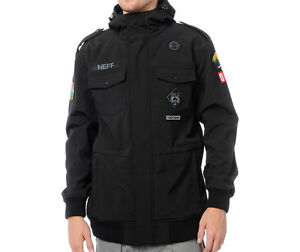 2013-NWT-NEFF-CAMP-REJECT-SOFTSHELL-SNOWBOARD-JACKET-140-black-military-style