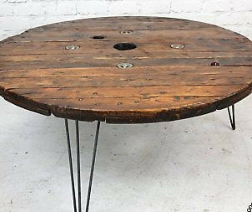 Unique Bespoke Reclaimed Wood Cable Reel Coffee Table One Of A Kind
