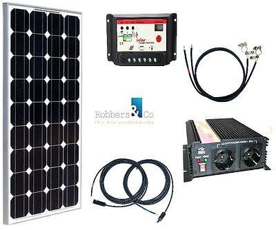 100 Watt Camping Solaranlage, 12Volt SET mit Spannungswandler für Garten Camping