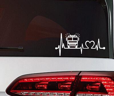 Feuerwehr Auto Aufkleber Herzschlag Sticker THW Rettung Bus LKW JDM OEM