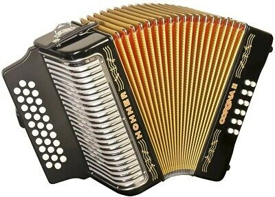 Hohner Corona II Diatonic Accordion G/C/F Black Lacquer Bundle w/Bag and Straps
