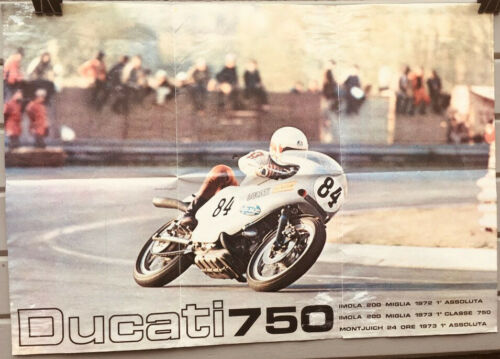 Green-frame Grail: Factory poster w/750SS/Sport/GT roundcase bevel Ducati twins
