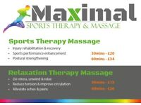 Maximal Sports Therapy & Relaxation Therapy Massage