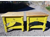 pair of solid wood coffee tables