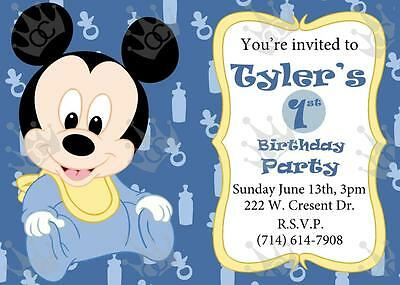 Mickey Mouse Template For Baby Shower or Birthday Party Invites DIY](Diy Mickey Mouse Invitations)