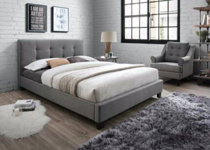 Brand New Concise Fabric Queen/Double Bed in Oat white and Grey