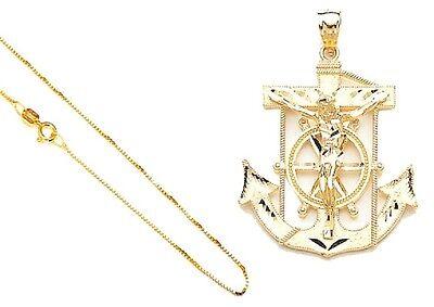 14k Gold 2-Tone Anchor Mariners Cross Pendant 18
