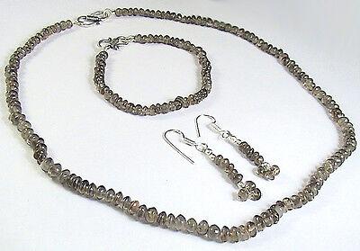 Button Pearl Necklace Bracelet Earrings (NATURAL SMOKY QUARTZ BUTTON BEAD NECKLACE BRACELET EARRING GIFT SET  )