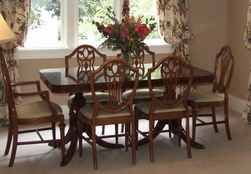 Vintage Duncan Phyfe Dining Room Set - Antique - Table 6 Chairs - Mahogany