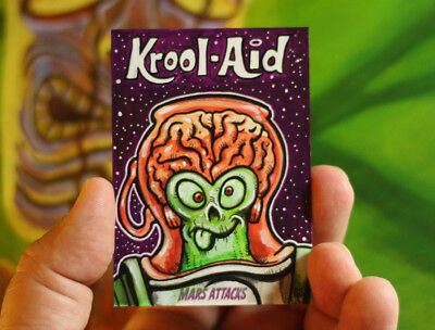 Topps Mars Attacks Attacky Packages Original Art Sketch Card 1/1 Kook Aid Spoof