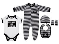 """Been Inside For 9 Months"""" 5 Peice Baby Bag Clothing Set NEW NEW"""