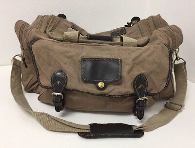 Vintage Eddie Bauer Ford Carry On Duffel Bag Travel Luggage Tan Canvas Leather